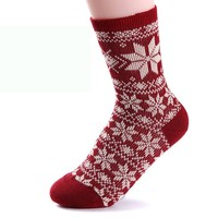 Meily(TM) Christmas Snowflake Design Womens Knit Wool Socks