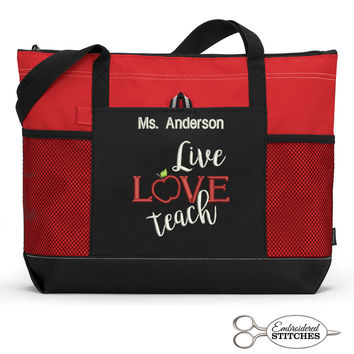 Live Love Teach Personalized Teacher Tote Zippered Embroidered Tote Bag