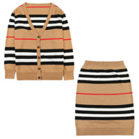 Burberry New fashion stripe long sleeve top and skirt two piece suit Khaki