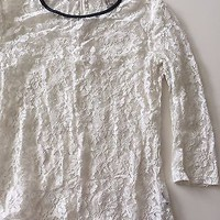 EUC Forever 21  White Lace 3/4 Sleeve Spring Summer Top Size Small