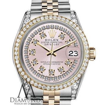 Ladies Rolex SS & Gold 36mm Datejust Watch Pink String Vintage Diamond Dial