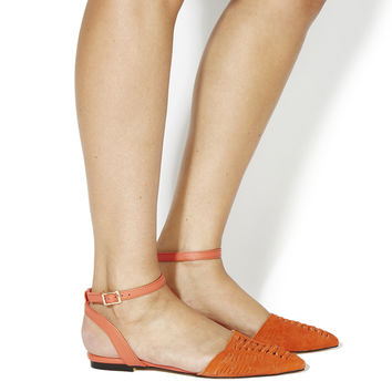 Office Dynamic Two Part Weave Slingbacks Coral Suede - Flats