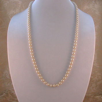 ON SALE Hobé Majorca Pearl Necklace 8 mm. Opera Length 32 Inches Signed Never Worn Gold Plated Clasp