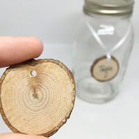 "10 Blank Drilled Wood slices 1"" to 1.5"" - rustic/woodland wood slices for weddings, tags, favors, decor, crafts & more"