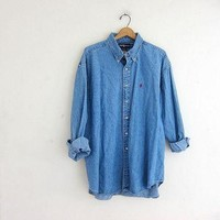 vintage button up jean shirt. Ralph Lauren denim pocket shirt. button down shirt. boyf