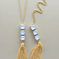 Periwinkle Crystal Tassel Necklace