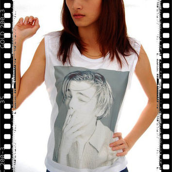 Leonardo Dicaprio Smoking Tumblr Pop Punk Rock Vintage Women Crop Tank Top Top T shirt S, M, L