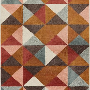 2969 Brown Multi Geometric Abstract Contemporary Area Rugs