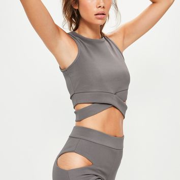 Missguided - Grey Cut Out Front Yoga Top