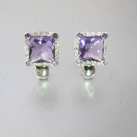 Le Vian Earrings. Amethyst Diamond 14K White Gold Halo Earrings. LeVian Le Vian Jewelry. February Birthstone Earrings