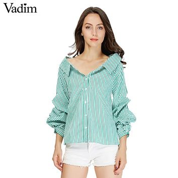 Vadim women elegant striped cotton pleated shirts lantern sleeve turn down collar blouse female casual brand tops blusas LT1938