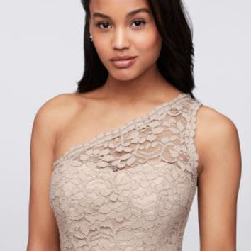 Long One Shoulder Lace Bridesmaid Dress | David's Bridal