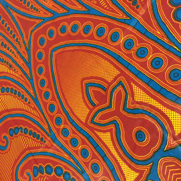 Congolese Fabric--African Wax Print Fabric--Ankara Fabric--Rust Red/Turquoise/Golden Yellow Splashing Water & Fish--Fabric by the PANEL