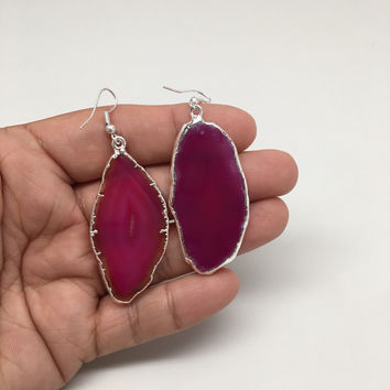 64.5cts Agate Druzy Slice Geode Earring Electroplated Silver Plated @Brazil,C731