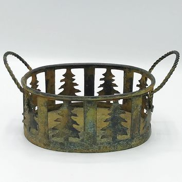 Rustic Christmas Tree Metal Handled Basket