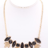 Black High Polish Metal Lacquer Stones Cute Necklace