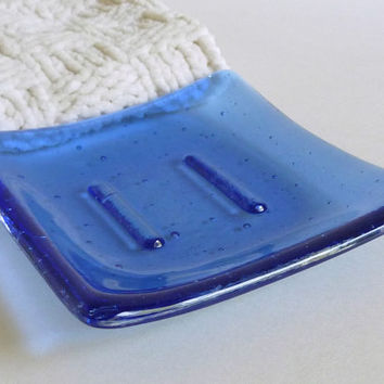 Fused Glass Square Soap Dish in Light Sky Blue