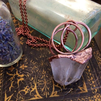 Crystal Necklace / Large Quartz Pendant / Long Gypsy Necklace / Statement Necklace Healing Crystals /Natural Stone Boho Jewelry a100