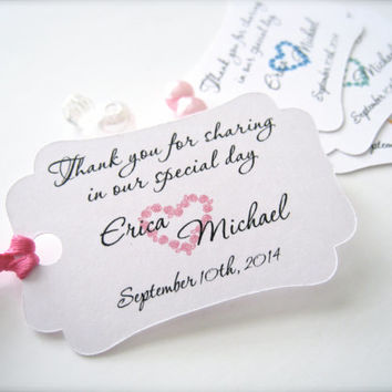 Small wedding favor tags,personalized thank you tags,party favor tags - 30 count