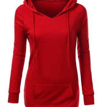 Front Double Pocket Hooded Long Sleeve Hoodie