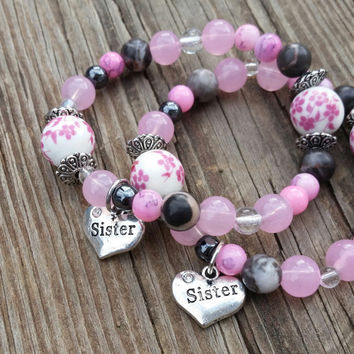Sister Matching Bracelet, Women's Elegant Beaded Bracelet, Pink Jewelry, Unique Gift for Women, Handmade Jewelry