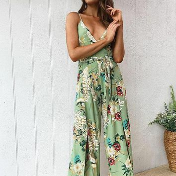 2019 new fashion printed sling sexy side slit female jumpsuit Green