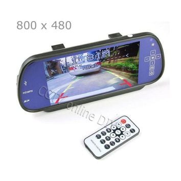 ac VLXC 100% New Car 7 inch 7'  TFT LCD Rear View Mirror MP5 SD Card USB Monitor 2CH Video Input Touch Button Free Shipping