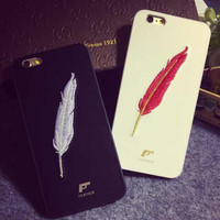 Unique Leather Embroidery Feather iPhone 5s 6 6s Plus Case Cover Gift 233