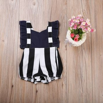 New 2017 Cute Baby Girls Clothes Ruffled One-piece Sleeveless Romper Jumpsuit Playsuit Outfit Baby Clothes