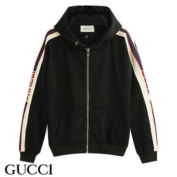 GUCCI fashionable hot seller of men's and women's casual striped embroidery zipper hoodie suits
