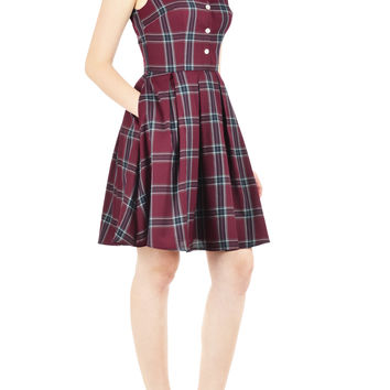 Contrast collar plaid shirtdress