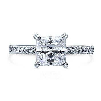 A Perfect 2.3CT Princess Cut Russian Lab Diamond Engagement Ring