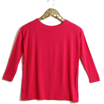 Piko Girl Scoop Neck Long Sleeve Shirt in Cherry G1851-CHERRY