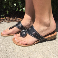 Jack Inspired Sandals Black with Silver