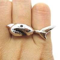 3D Shark Shaped Sea Animal Wrap Around Ring in Silver | DOTOLY