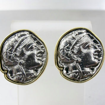 Kenneth Jay Lane Coin Earrings, KJL Couture Antique Coin Clip On Earrings Two Tone Gold Silver, Roman Greek Coin Jewelry