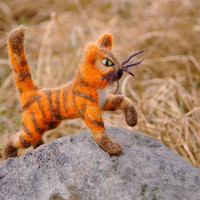 Needle felted ginger tabby cat, little woolen kitten, soft sculpture. OOAK