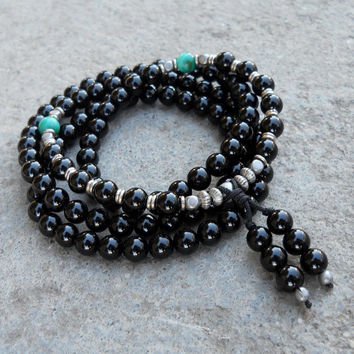Patience, 108 Bead Mala Onyx Wrap Bracelet Or Necklace