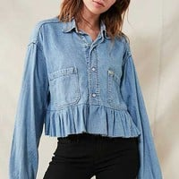 peplum chambray shirt