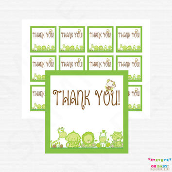 Green Safari Thank You Favor Tags, Jungle Baby Shower, Baby Shower Gift Tags, Baby Shower Decorations, Baby Shower Favors, Gift Tag BS0001-G