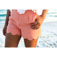 Cannes Peach High Waist Scallop Shorts