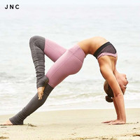 2016 New High Elastic Yoga Tights For Women Yoga Goddess Ribbed Leggings Gray High Waist Slims Fitness S/M/L