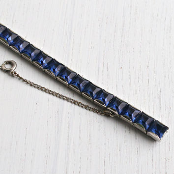 Antique Art Deco Sapphire Blue Stone Bracelet - Vintage 1930s Silver Tone Channel Set Rhinestone Costume Jewelry / Deep Blue