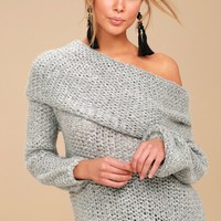 Forever Cozy Grey Knit Cowl Neck Sweater