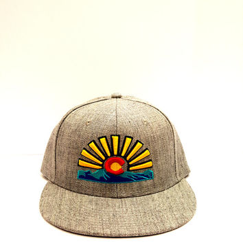 Colorado Flag Rising Sun Hat. Colorado Flag hat. Colorado Theme Snapback. Colorado Design Hats. Snapback Adjustable hat. One Size Fits Most