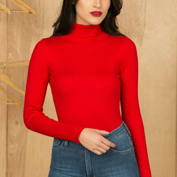 Knit Turtleneck Bodysuit (Red)