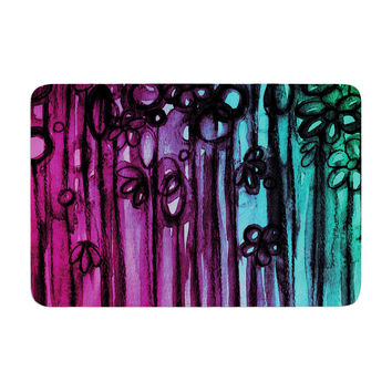 "Ebi Emporium ""Winter Garden - Ombre"" Purple Teal Memory Foam Bath Mat"
