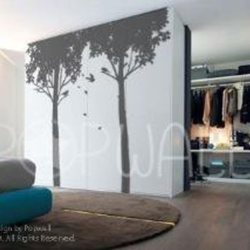 Vinyl Wall Sticker Decal Art   Shady Trees with Birds  by NouWall