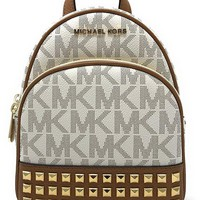 DCCK2JE Michael Michael Kors Abbey Extra-Small Signature Studded Backpack Vanilla/Acorn