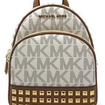 ONETOW Michael Michael Kors Abbey Extra-Small Signature Studded Backpack Vanilla/Acorn